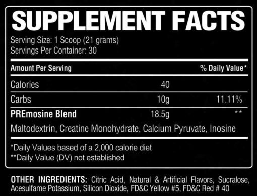 PREmosine Supplement Facts